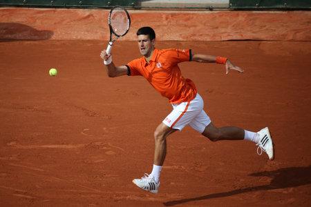 grand slam: PARIS, FRANCE- MAY 28, 2015: Eight times Grand Slam champion Novak Djokovic during second round match at Roland Garros 2015 in Paris, France