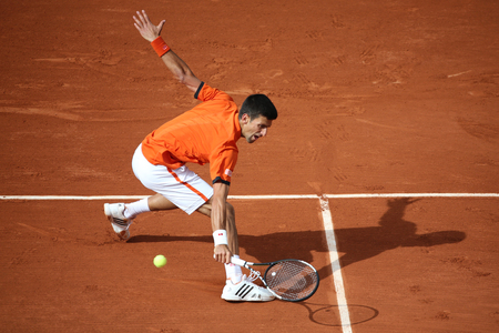 serb: PARIS, FRANCE- MAY 28, 2015: Eight times Grand Slam champion Novak Djokovic during second round match at Roland Garros 2015 in Paris, France