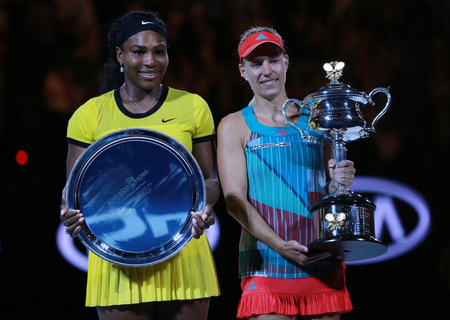 williams: MELBOURNE, AUSTRALIA - JANUARY 30, 2016:Australian Open 2016 finalist Serena Williams (L) and Grand Slam champion Angelique Kerber of Germany during trophy presentation after final match in Melbourne