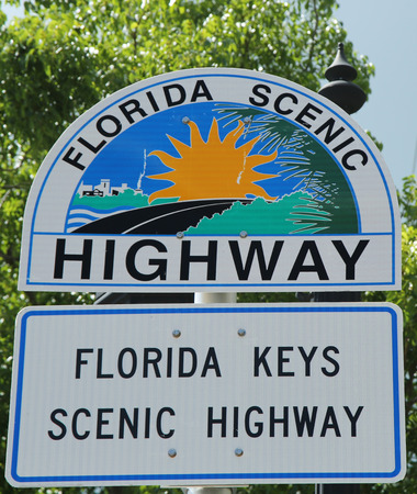 scenic highway: KEY WEST, FLORIDA - JUNE 1, 2016: Florida Scenic Highway Sign in Key West, Florida, USA. Mile Zero Sign is the starting point of U.S. Route 1 in Key West.