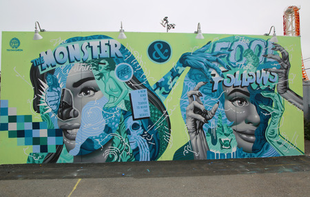 coney: NEW YORK - JUNE 2, 2016: Mural art by Tristan Eaton at the new street art attraction Coney Art Walls at Coney Island section in Brooklyn