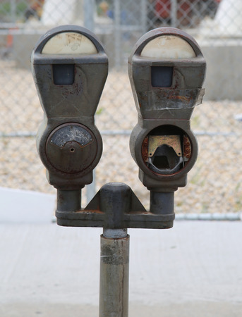 old new york: Abandoned old parking meters in New York