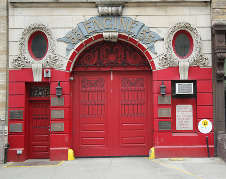 ems: NEW YORK - MARCH 10, 2016: Historic Engine Company 55 Firehouse in Lower Manhattan. FDNY is the largest combined Fire and EMS provider in the world Editorial