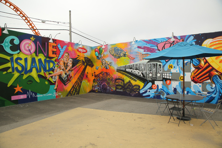 coney: NEW YORK - JUNE 2, 2016: Mural art at new street art attraction Coney Art Walls at Coney Island section in Brooklyn