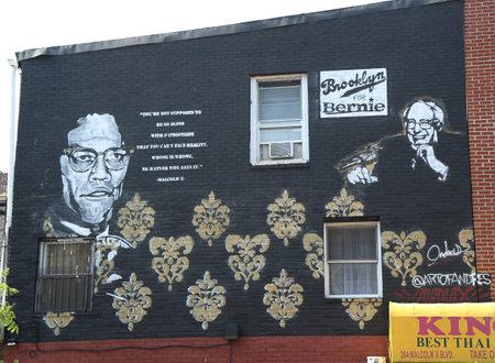 senate race: BROOKLYN, NEW YORK - JUNE 4, 2016: 2016 Presidential race political advertisement in Brooklyn, New York