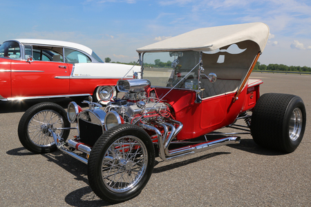 BROOKLYN, NEW YORK - JUNE 8, 2014: Historical 1925 Ford Hot Rod on display at the Antique Automobile Association of Brooklyn annual Spring Car Show in Brooklyn, New York
