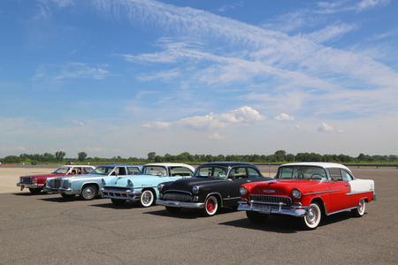 BROOKLYN, NEW YORK - JUNE 8, 2014: Historical American made cars on display at the Antique Automobile Association of Brooklyn annual Spring Car Show in Brooklyn, New York Editorial