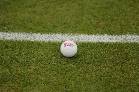 wilson: NEW YORK - JULY 21, 2015: Vintage white Wilson Tennis Ball on grass tennis court. Editorial