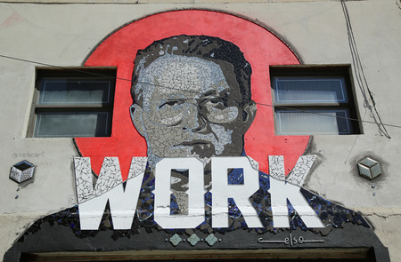puerto rican: NEW YORK - JUNE 9, 2016: Mosaic art by Puerto Rican artist Celso Gonzalez at East Williamsburg in Brooklyn. Outdoor art gallery known as the Bushwick Collective has most diverse collection of street art in Brooklyn