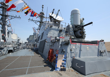 phalanx: NEW YORK - MAY 26, 2016: The Phalanx gun on the deck of US Navy guided-missile destroyer USS Farragut during Fleet Week 2016 in New York. Editorial