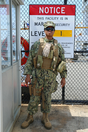 best security: NEW YORK - MAY 26, 2016: Unidentified US Marine providing security during Fleet Week 2016 in New York
