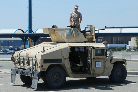 enhanced: NEW YORK - MAY 26, 2016: The M1151 Enhanced Armament Carrier presented during Fleet Week 2016 in New York Editorial
