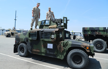 armament: NEW YORK - MAY 26, 2016: The M1151 Enhanced Armament Carrier presented during Fleet Week 2016 in New York Editorial