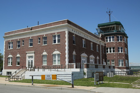 floyd: BROOKLYN, NEW YORK - JUNE 12, 2016: Historic Floyd Bennett Field Administration Building served as passenger terminal, air traffic control and baggage depot in Brooklyn, New York Editorial