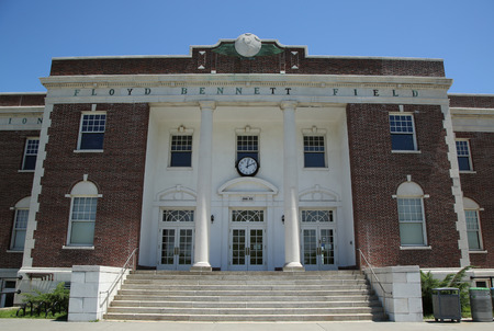 bennett: BROOKLYN, NEW YORK - JUNE 12, 2016: Historic Floyd Bennett Field Administration Building served as passenger terminal, air traffic control and baggage depot in Brooklyn, New York Editorial