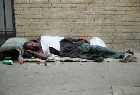 NEW YORK - JUNE 16, 2016: Homeless man at Greenwich Village in Lower Manhattan