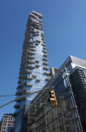 leonard: NEW YORK - JUNE 22, 2016: Nearly completed 60-story building a k a the Jenga Tower at 56 Leonard Street in Tribeca, Lower Manhattan.