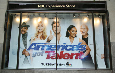 NEW YORK - JUNE 16, 2016: NBC Experience Store window display decorated with America s Got Talent logo in Rockefeller Center in Midtown Manhattan Editorial