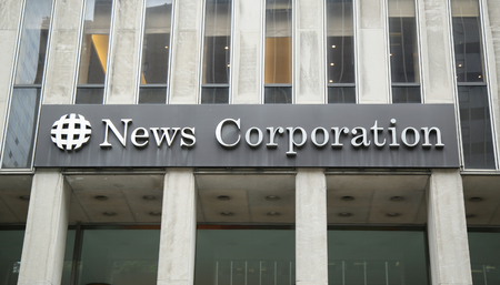 american media: NEW YORK - JUNE 16, 2016: News Corporation headquarters building in New York City. News Corporation is an American diversified multinational mass media corporation Editorial