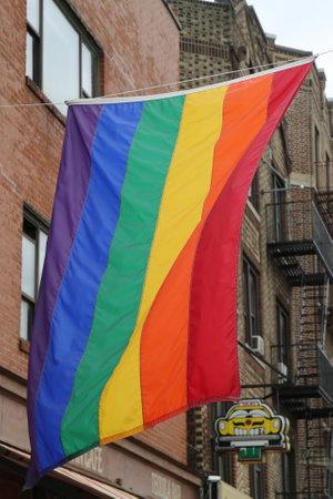 greenwich: Rainbow flag at Greenwich Village in New York City Editorial