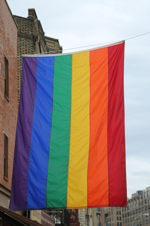 dangerous love: Rainbow flag at Greenwich Village in New York City Stock Photo