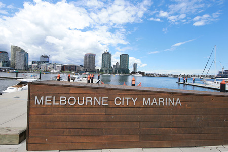 waterfront property: MELBOURNE, AUSTRALIA - JANUARY 31, 2016: Melbourne City Marina at Docklands in Waterfront City, Melbourne, Australia