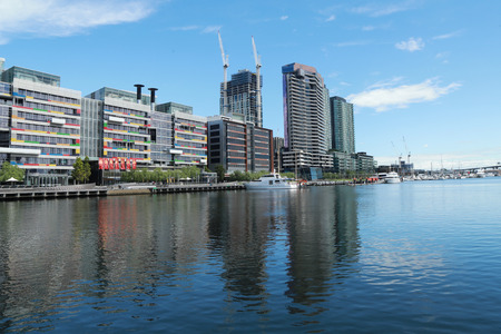 city of sunrise: MELBOURNE, AUSTRALIA - JANUARY 31, 2016: Melbourne City Marina at Docklands in Waterfront City, Melbourne, Australia