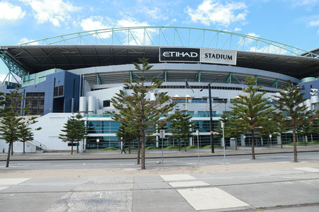 precinct: MELBOURNE, AUSTRALIA - JANUARY 31, 2016: Etihad Stadium in the Docklands precinct of Melbourne, Victoria. Etihad Stadium is one of Australias leading multi-purpose venues hosting up to 55000 fans Editorial