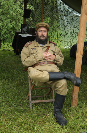 OLD BETHPAGE , NEW YORK - MAY 22, 2016: World War II Encampment participant in World War II Red Army uniform in Old Bethpage, NY