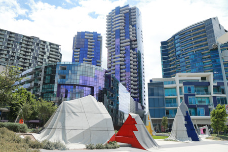 docklands: MELBOURNE, AUSTRALIA - JANUARY 31, 2016: Modern architecture at Docklands in Waterfront City, Melbourne, Australia