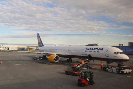 jet plane: REYKJAVIK, ICELAND - JULY 3, 2016: Icelandair aircraft at the gate at Keflavik International Airport. Icelandair is the main airline of Iceland, headquartered at Keflavik International Airport