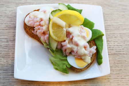 Sandwich with shrimps and egg in Iceland Stock fotó