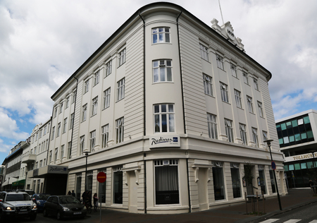 appointed: REYKJAVIK, ICELAND - JULY 5, 2016: Radisson Blu 1919 Hotel in Reykjavik. It is landmark and protected historic building in Reykjavik Downtown within walking distance of main attractions in Reykjavik Editorial