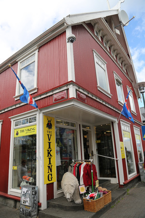 REYKJAVIK, ICELAND - JULY 5, 2016: Souvenir shop in Reykjavik, Iceland. Tourism in Iceland has grown considerably in economic significance in the past 15 years Editorial