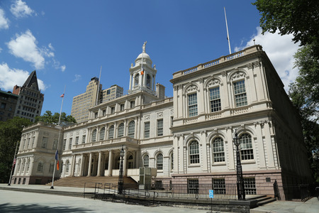 governmental: NEW YORK - JULY 19, 2016: New York City Hall. The building is the oldest city hall in the United States that still houses its original governmental functions