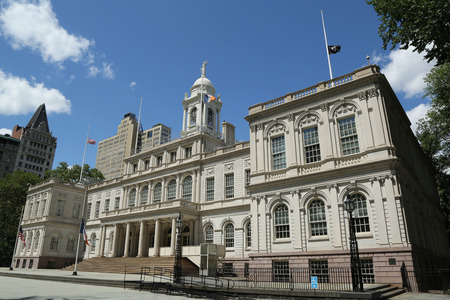 french renaissance: NEW YORK - JULY 19, 2016: New York City Hall. The building is the oldest city hall in the United States that still houses its original governmental functions