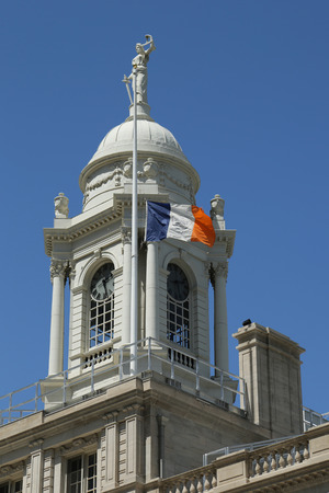 french renaissance: NEW YORK - JULY 19, 2016: New York City Hall Cupola. The building is the oldest city hall in the United States that still houses its original governmental functions