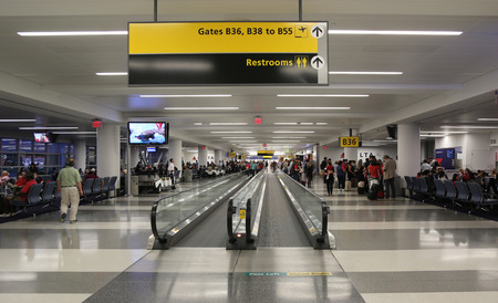 kennedy: NEW YORK- JULY 2, 2016: Inside of Delta Airline Terminal 4 at JFK International Airport in New York. JFK is one of the biggest airports in the world with 4 runways and 8 terminals