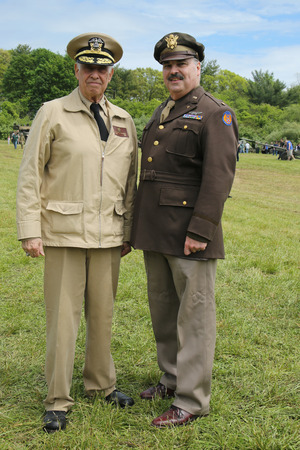 encampment: OLD BETHPAGE , NEW YORK - MAY 22, 2016: World War II Encampment participants in World War II American Army uniform in Old Bethpage, NY Editorial