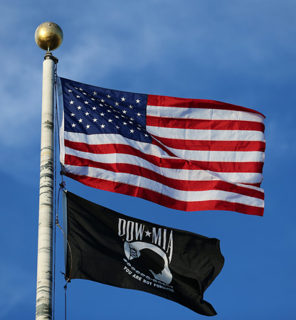 usa flags: American and POW MIA flags
