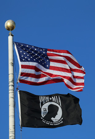 pow: American and POW MIA flags