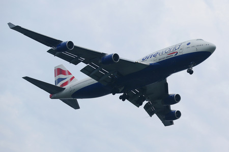 NEW YORK - JULY 28, 2016: British Airways Boeing 747 descending for landing at JFK International Airport in New York