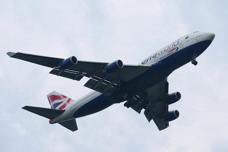 NEW YORK - JULY 28, 2016: British Airways Boeing 747 descending for landing at JFK International Airport in New York