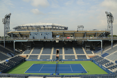 flushing: NEW YORK - AUGUST 24, 2015: Grandstand Stadium at the Billie Jean King National Tennis Center ready for US Open tournament in Flushing, NY