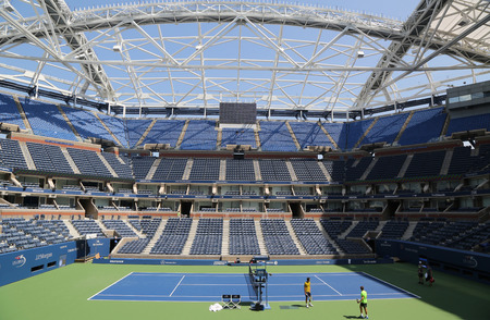 new and improved: NEW YORK - AUGUST 24, 2015: Newly Improved Arthur Ashe Stadium at the Billie Jean King National Tennis Center ready for US Open tournament in Flushing, NY