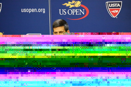 us open: NEW YORK - AUGUST 29, 2015: Grand Slam Champion Novak Djokovic of Serbia during press conference before US Open 2015.