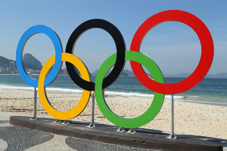 olympic rings: RIO DE JANEIRO, BRAZIL – AUGUST 6, 2016: Olympic Rings at Copacabana Beach in Rio de Janeiro