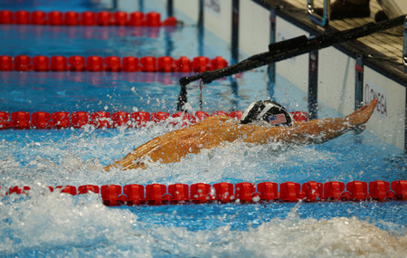 medley: RIO DE JANEIRO, BRAZIL AUGUST 13, 2016: Olympic champion Michael Phelps of United States competes at the Mens 4x100m medley relay Final of the Rio 2016 Olympic Games at the Olympic Aquatics Stadium