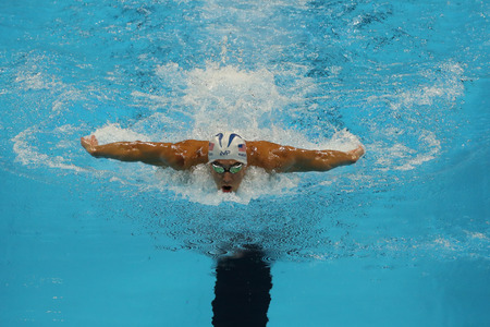 medley: RIO DE JANEIRO, BRAZIL - AUGUST 10, 2016:Olympic champion Michael Phelps of United States competes at the Mens 200m individual medley of the Rio 2016 Olympic Games at the Olympic Aquatics Stadium