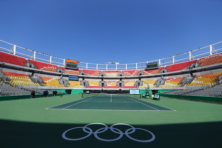 olympic ring: RIO DE JANEIRO, BRAZIL - AUGUST 5, 2016: Main tennis venue Maria Esther Bueno Court  of the Rio 2016 Olympic Games at the Olympic Tennis Centre